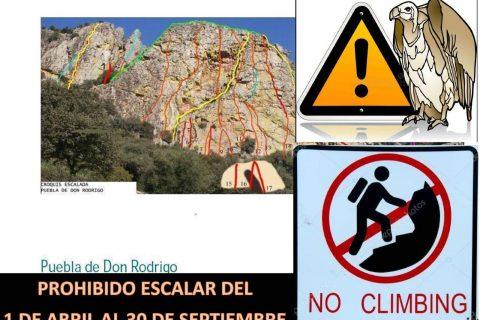 Aviso: Prohibición de escalar en Puebla de Don Rodrigo