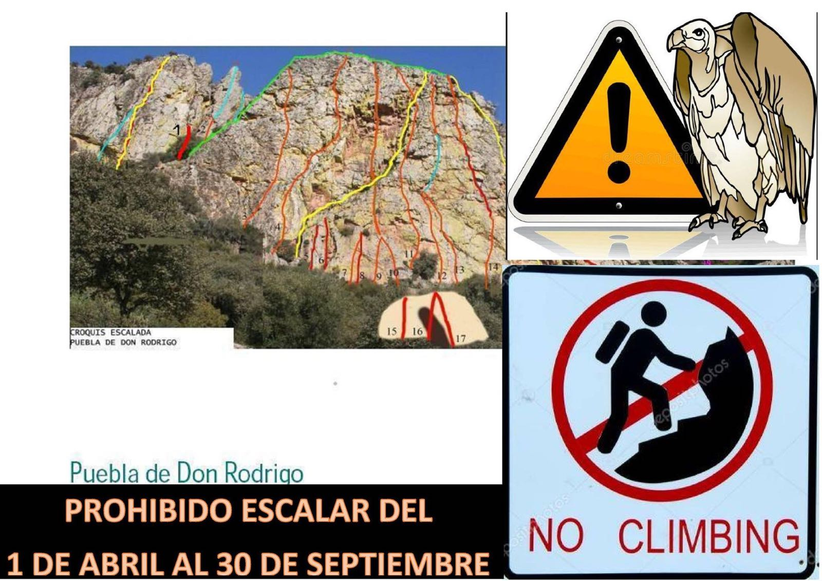 Prohibición de escalada en Puebla de don Rodrigo